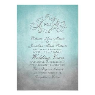 Rustic Teal and Grey Bohemian Wedding Invitation