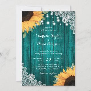 Rustic Teal and Sunflower Wedding Invitations