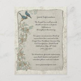 Rustic Teal Birds Damask Wedding Information Card