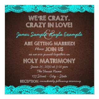 Rustic Teal Blue and Brown Country Wedding Invitation