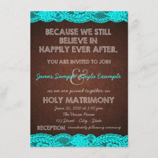 Rustic Teal Blue and Brown Country Wedding Invitations