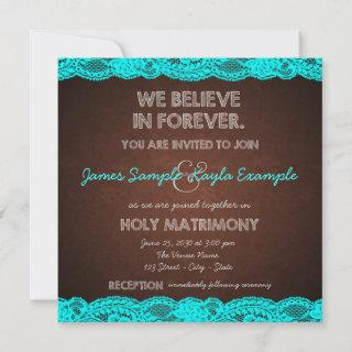 Rustic Teal Blue and Brown Wedding Invitations