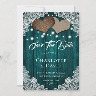 Rustic Teal Burlap Lace Wedding Save The Date Card