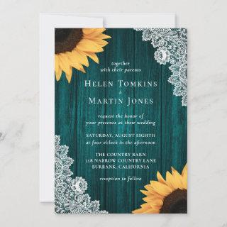 Rustic Teal Lace Sunflower Wedding Invitations