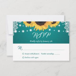 Rustic Teal Lace Sunflower Wedding RSVP Cards