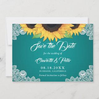 Rustic Teal Lace Sunflower Wedding Save The Date