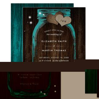 Rustic Teal Mason Jar Wedding Invitations