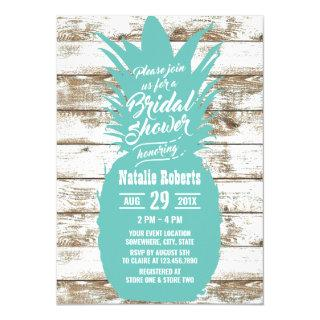 Rustic Teal Pineapple Tropical Beach Bridal Shower Invitations