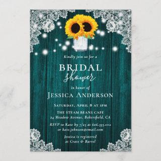 Rustic Teal Sunflower Bridal Shower Invitations