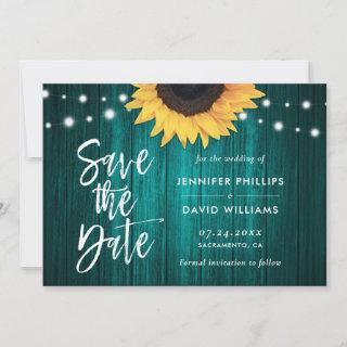 Rustic Teal Sunflower Save The Date Cards