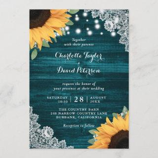 Rustic Teal Wood Lace Sunflower Wedding Invitations