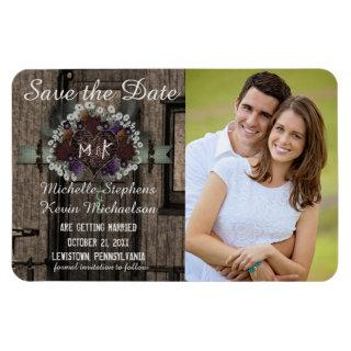 Rustic Train Caboose Floral Photo Save the Date Magnet