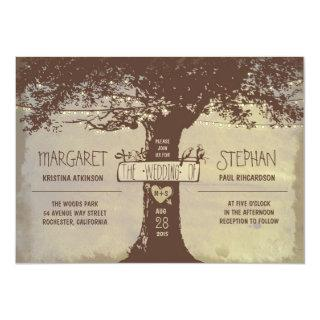 rustic tree and string lights wedding Invitations