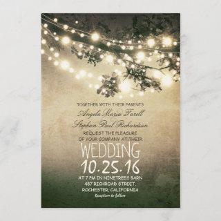 Rustic Tree Branches and Lights Vintage Wedding Invitation