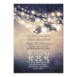 Rustic tree branches & string lights wedding Invitations