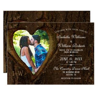 Rustic Tree Heart with your Photo Wedding Invitations