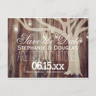 Rustic Tree Lights Wood Save the Date Postcards