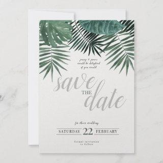 Rustic Tropical Save the Date, watercolour. Holiday Card