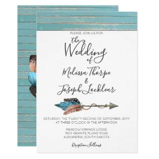 Rustic Turquoise Wood Feathers Wedding Invitation