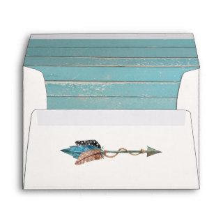 Rustic Turquoise Wood Feathers Wedding Invitation Envelope