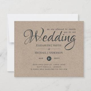Rustic TYPOGRAHY Wedding Invites - Kraft Look