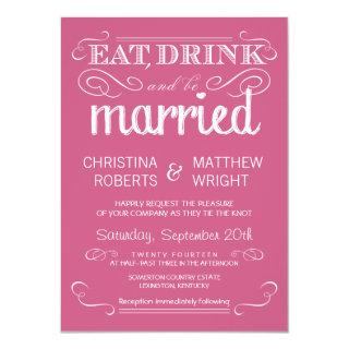 Rustic Typography Dusty Rose Wedding Invitations