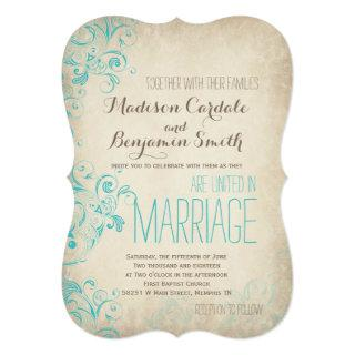 Rustic Vintage Aqua Flourish Wedding Invitations