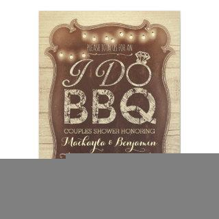 rustic vintage BBQ couples shower Invitations
