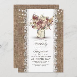 Rustic Vintage Floral Mason Jar | Burlap Wedding Invitation