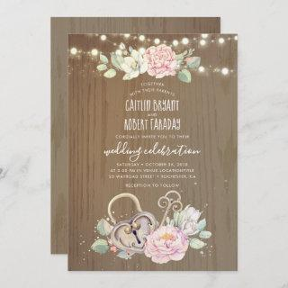 Rustic Vintage Key and Lock Wedding Invitation