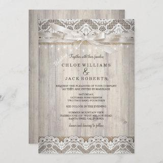Rustic Vintage Lace Wood Wedding Lights Invitations