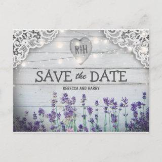 Rustic Vintage Lavender Save the Date Announcement Postcard