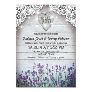 Rustic Vintage Lavender Wedding | Twinkle Lights Invitation
