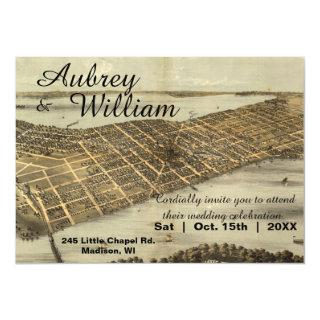 Rustic Vintage Madison WI Map Wedding Invitation