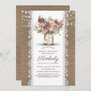 Rustic Vintage Mason Jar Burlap Lace Bridal Shower Invitation