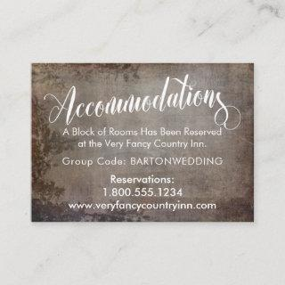 Rustic Vintage Wedding Accommodations Insert Cards