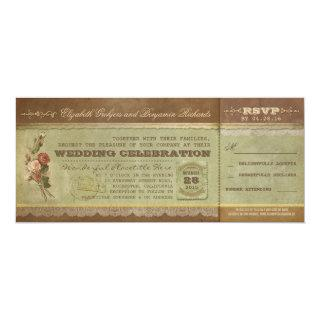 Rustic vintage wedding tickets with RSVP Invitations