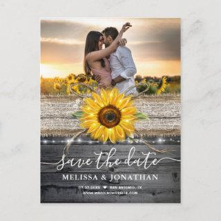 Rustic Vintage Wood Lace Sunflower Save the Date Postcard
