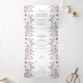Rustic Violet & Pink Watercolor Roses Wedding Tri-Fold Invitations