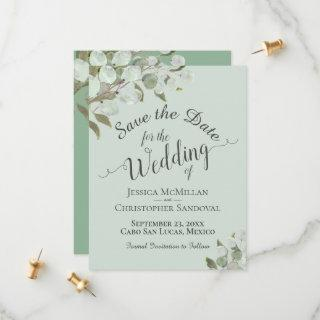 Rustic Watercolor Eucalyptus Leaves Mint Wedding Save The Date