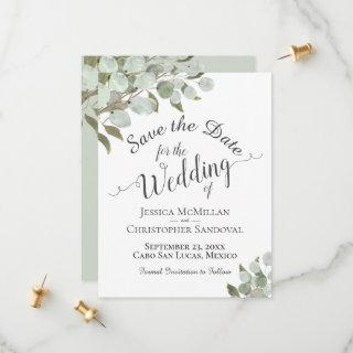 Rustic Watercolor Eucalyptus Leaves White Wedding Save The Date
