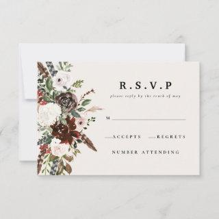 Rustic watercolor floral wedding R.S.V.P RSVP Card