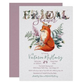 Rustic Watercolor Forest Fox Bridal Shower Invitations