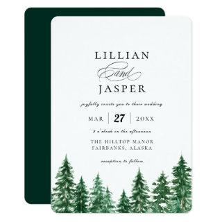 Rustic Watercolor Forest Wedding Invitations