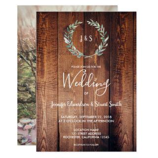 Rustic watercolor leaves monogram photo Wedding Invitations
