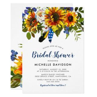 Rustic Watercolor Navy Sunflower Bridal Shower Invitations