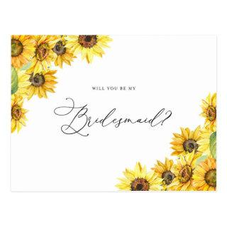 Rustic Watercolor Sunflowers Be My Bridesmaid Postcard