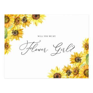 Rustic Watercolor Sunflowers Be My Flower Girl Postcard