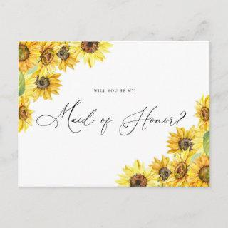 Rustic Watercolor Sunflowers Be My Maid of Honor Postcard