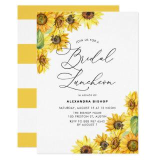 Rustic Watercolor Sunflowers Bridal Luncheon Invitations